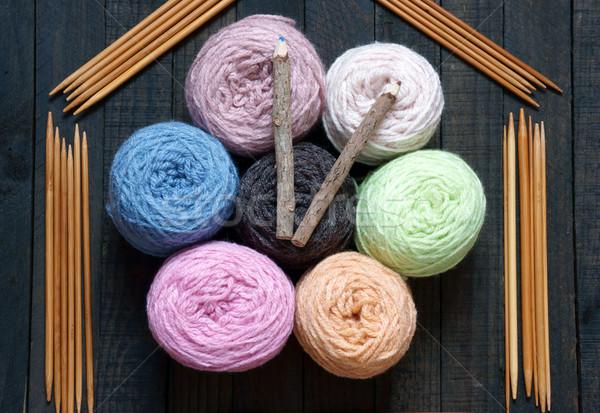 Handmade clock, wool, time, clockwise Stock photo © xuanhuongho