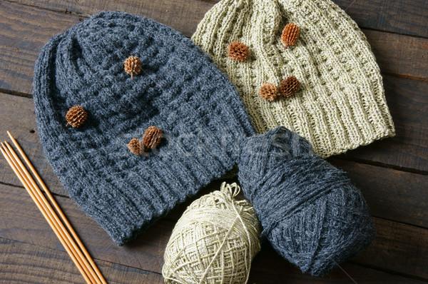 Handmade, gift, couple, woollen hat, knitting Stock photo © xuanhuongho