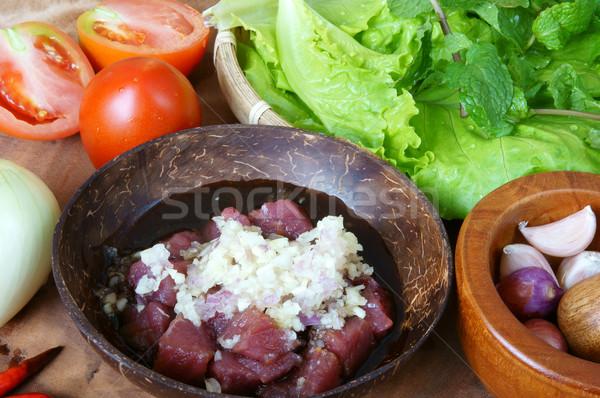 Alimentos carne de vacuno nutrición delicioso comer especias Foto stock © xuanhuongho