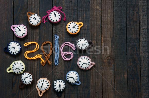 Hecho a mano reloj feliz año nuevo 2016 tiempo diseno Foto stock © xuanhuongho