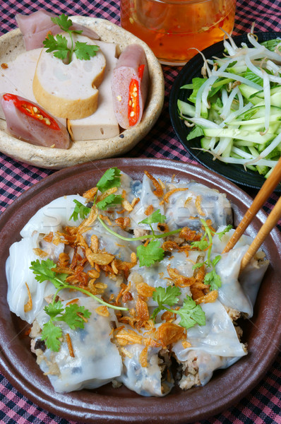 Vietnamese food, Rice noodle roll Stock photo © xuanhuongho