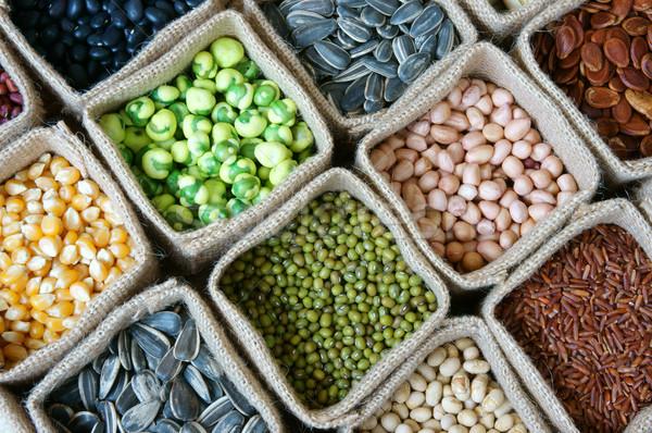 Coleção grão cereal semente feijão agricultura Foto stock © xuanhuongho
