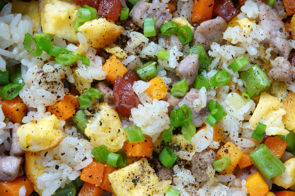 Comida frito arroz asiático alimentação delicioso Foto stock © xuanhuongho
