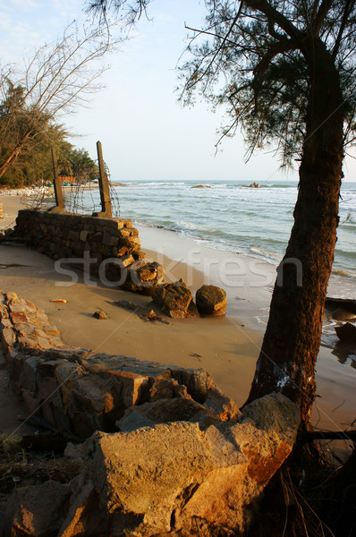 Erosion, wave destroy seawall, effect of climate change Stock photo © xuanhuongho