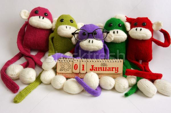 Família recheado animal ano novo macaco engraçado Foto stock © xuanhuongho