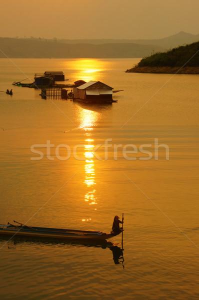 Vietnamese rural, lake  at sunset Stock photo © xuanhuongho