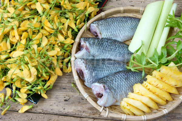 Comida peixe sopa de legumes ingredientes ananás Foto stock © xuanhuongho