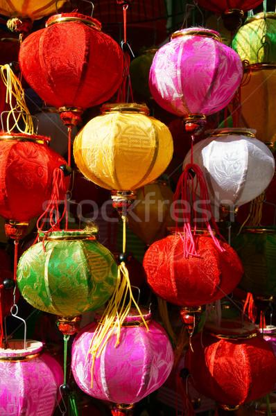красочный фонарь базарная площадь фестиваля группа улице Сток-фото © xuanhuongho