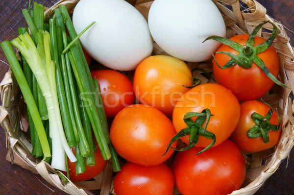 Vietnamese food, tomato saute egg Stock photo © xuanhuongho