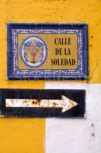 Street of Solitude - Old pointer in Cartagena, Colombia Stock photo © xura
