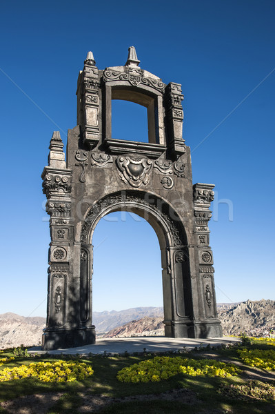 Ancient Ornate arch on top of Cerro Quilli, La Paz from above,  Stock photo © xura