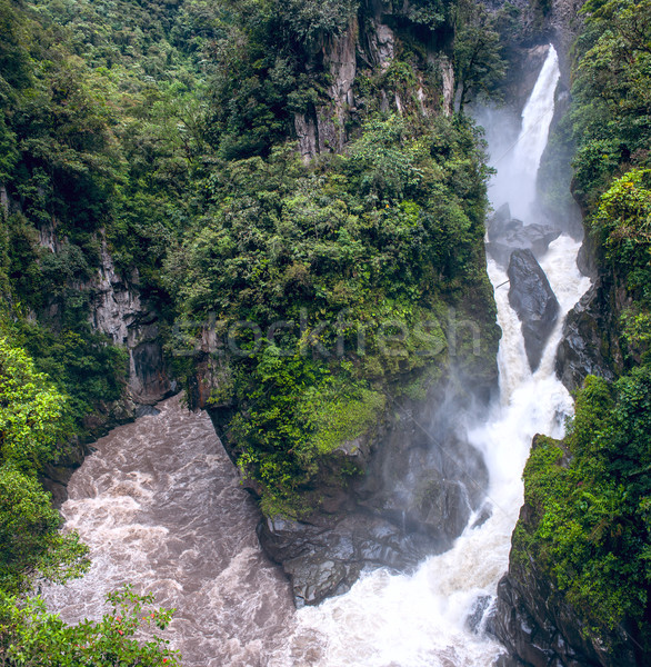 Pailon del Diablo - Mountain river and waterfall in the Andes. B Stock photo © xura