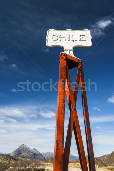 Чили Vintage границе пост дорожный знак Аргентина Сток-фото © xura