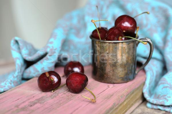 Tatlı kiraz eski kupa kalay yaz Stok fotoğraf © xura
