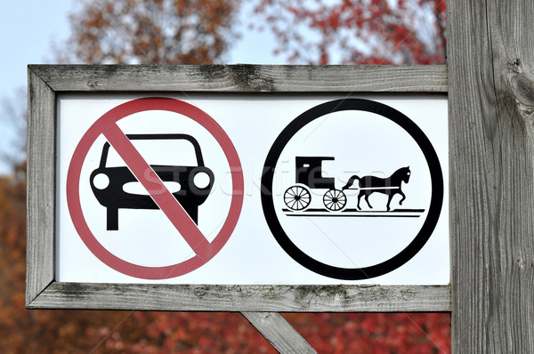 Only horse-drawn vehicles sign Stock photo © xura