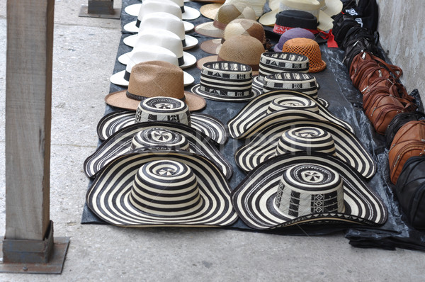 Sombreros Volteados - Typical Colombian Hats on the marketplace, Stock photo © xura