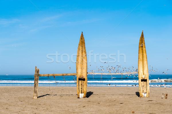 Traditional Peruvian small Reed Boats (Caballitos de Totora), st Stock photo © xura