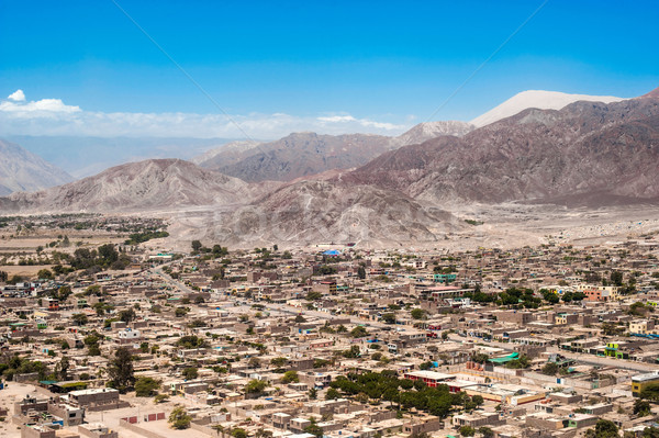 Biggest dune in the world dominates the city of Nazca in the des Stock photo © xura