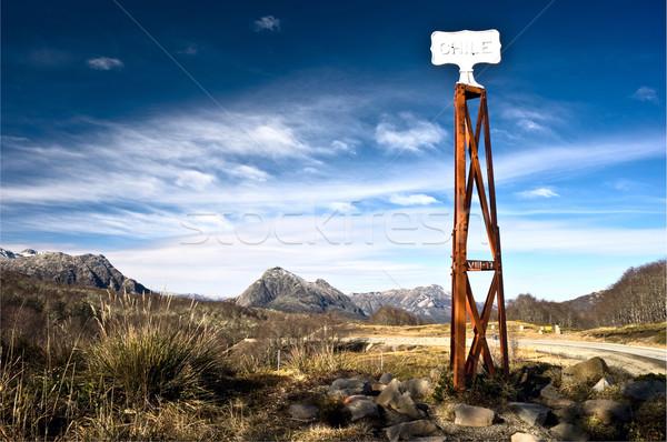 Chile vintage sujo fronteira postar placa sinalizadora Foto stock © xura