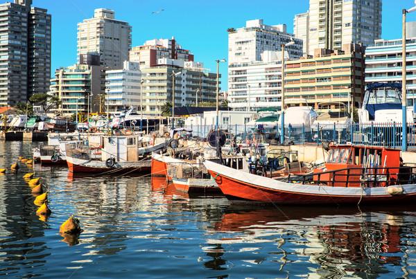 ウルグアイ 釣り ボート ビーチ 木材 海 ストックフォト © xura