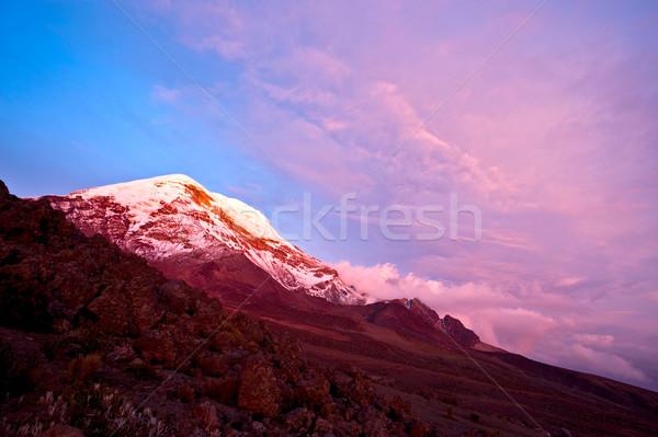 日没 火山 風景 雪 山 ストックフォト © xura