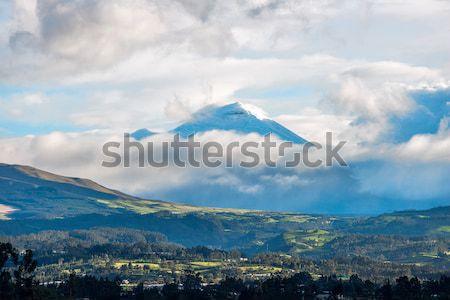 Vale vulcão Equador pôr do sol paisagem neve Foto stock © xura