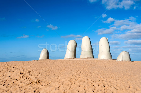 The Hand Sculpture, City of Punta del Este, Uruguay Stock photo © xura