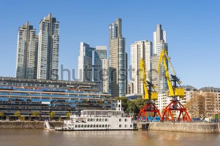 Buenos Aires Argentína citromsárga építkezés állvány irodaház Stock fotó © xura