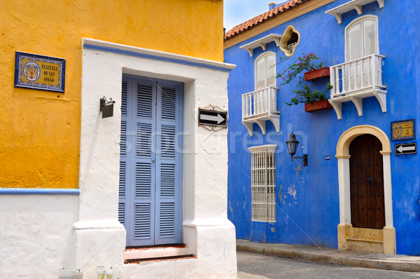 Typical Colonial houses, San Diego Square in the Old City of Car Stock photo © xura