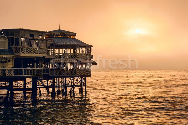 Evening Lima. Sunset on the Pacific Ocean, the sun breaks throug Stock photo © xura