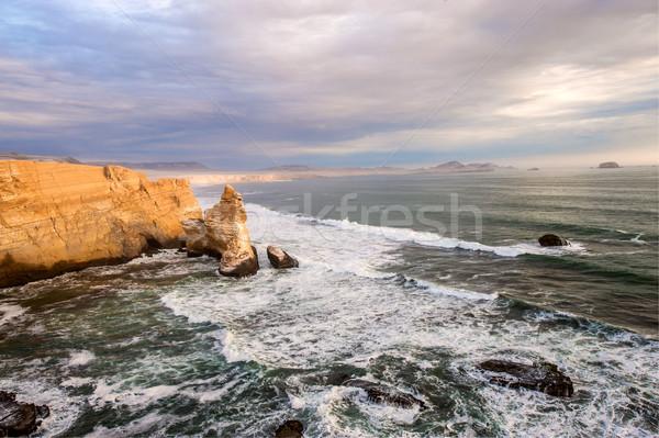 Katedral kaya oluşumu kaya sahil rezerv Stok fotoğraf © xura