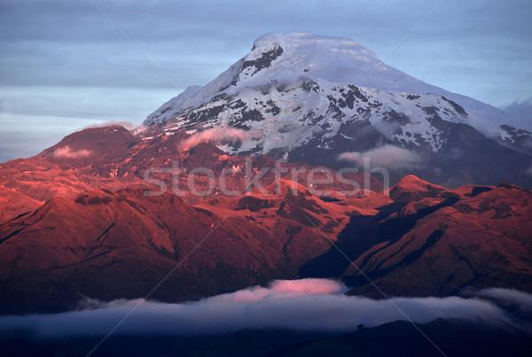 Pôr do sol vulcão Equador ramo Foto stock © xura