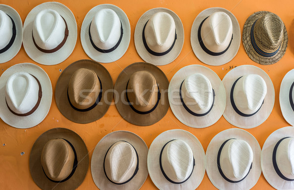 Market stall with craftsmanship Brazilian Straw Hats for sale  Stock photo © xura