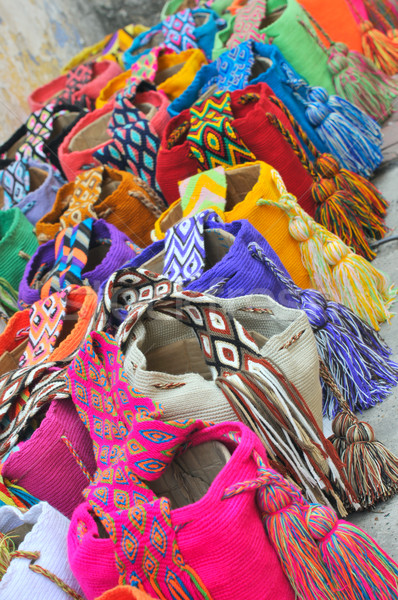 Multi-colored colombian bags on a market stall in Cartagena, Col Stock photo © xura