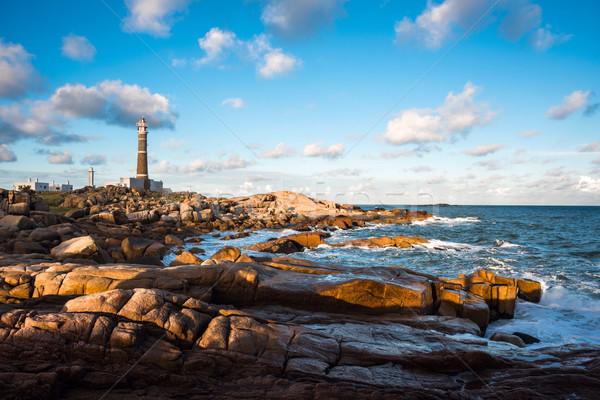 Deniz feneri Uruguay plaj inşaat okyanus taş Stok fotoğraf © xura