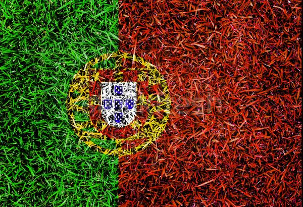 Portekiz bayrak renk çim doku bahar Stok fotoğraf © yanukit