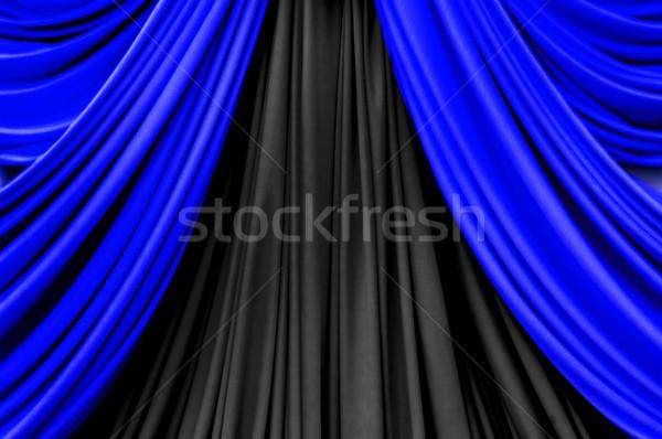 blue and black curtain on stage Stock photo © yanukit