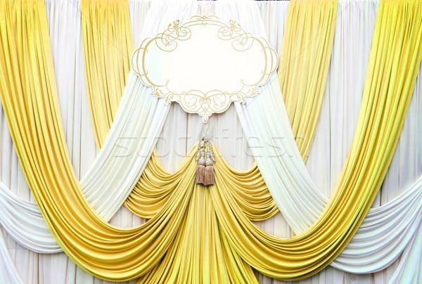 Сток-фото: белый · золото · занавес · фон · свадьба · текстуры