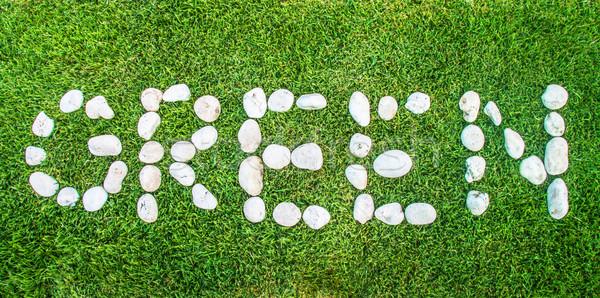 зеленый сообщение каменные камней послать Сток-фото © yanukit