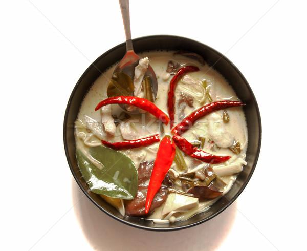известный пряный кокосового кремом суп куриные Сток-фото © yanukit
