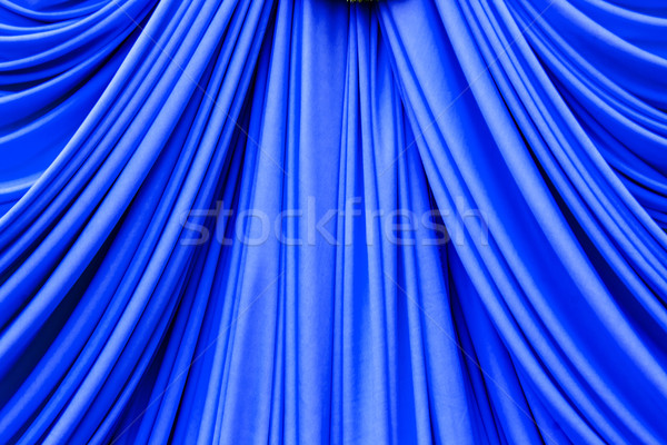 Stock photo: blue curtain texture