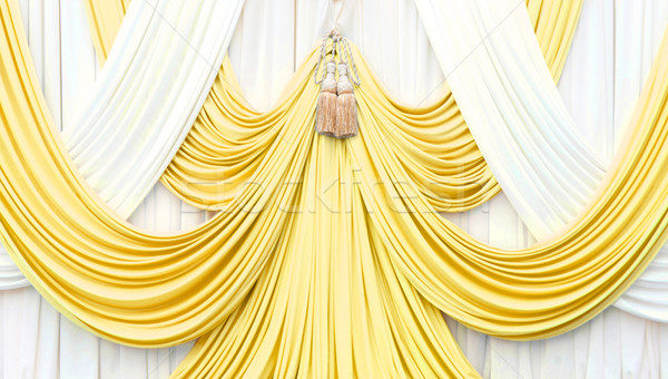Stock photo: gold and white curtain on stage