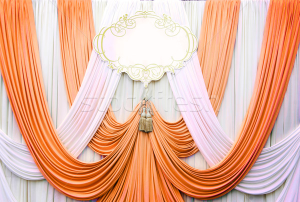 white and copper curtain backdrop background Stock photo © yanukit