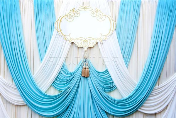 Witte gordijn achtergrond bruiloft textuur Blauw Stockfoto © yanukit