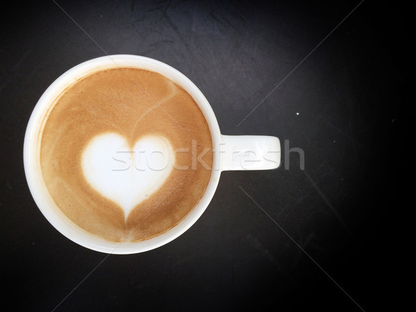 Stock photo: Cup of latte art coffee heart symbol