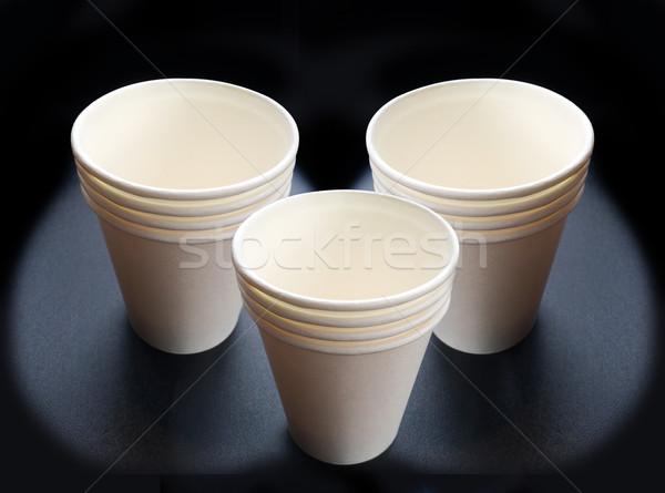 Geri dönüşüm kâğıt fincan karanlık kahve içmek Stok fotoğraf © yanukit