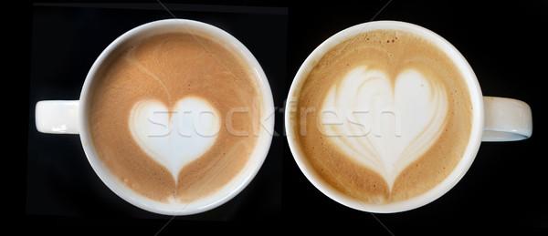 Кубок искусства кофе сердце символ капучино Сток-фото © yanukit