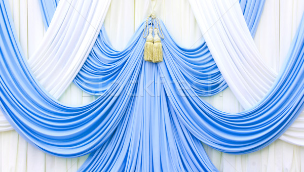 blue and white curtain on stage Stock photo © yanukit