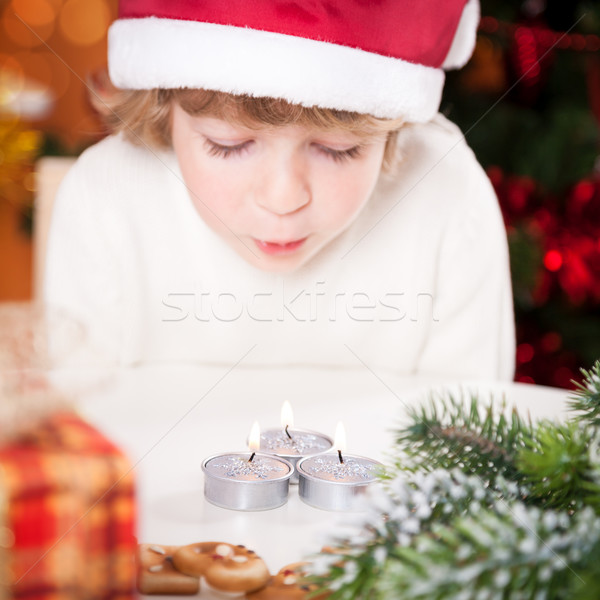 Funny child in Santa`s hat  Stock photo © Yaruta