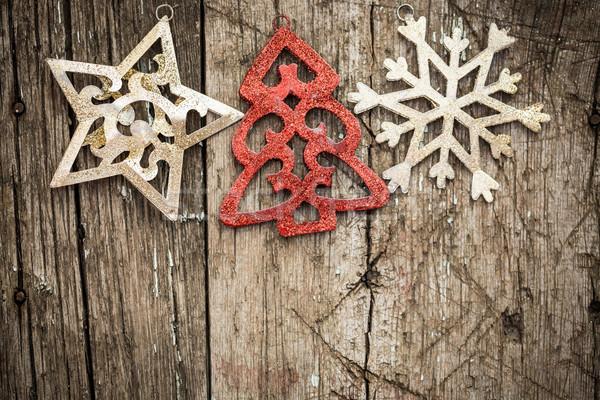 Navidad ornamento madera oro rojo árbol de navidad Foto stock © Yaruta